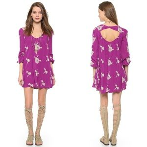 Free People Emma's Dress Embroidered Purple XS